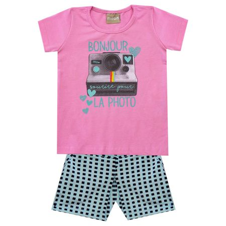 31c38ceebc Conjunto Infantil Feminino Blusa + Short Milon
