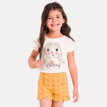 cc9b887109 Conjunto Infantil Feminino Blusa + Short Milon M6467.0452.1