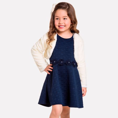 22569d66d Conjunto Infantil Feminino Vestido + Bolero Milon 11402.6826.4
