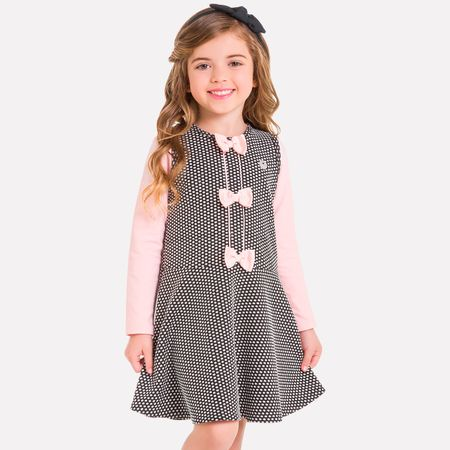 33a3049e9 Conjunto Infantil Feminino Blusa + Vestido Milon