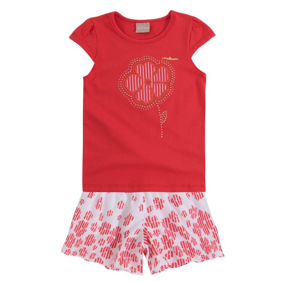c0e0c93aac3d1b Conjunto infantil menina em cotton e cetim - Milon