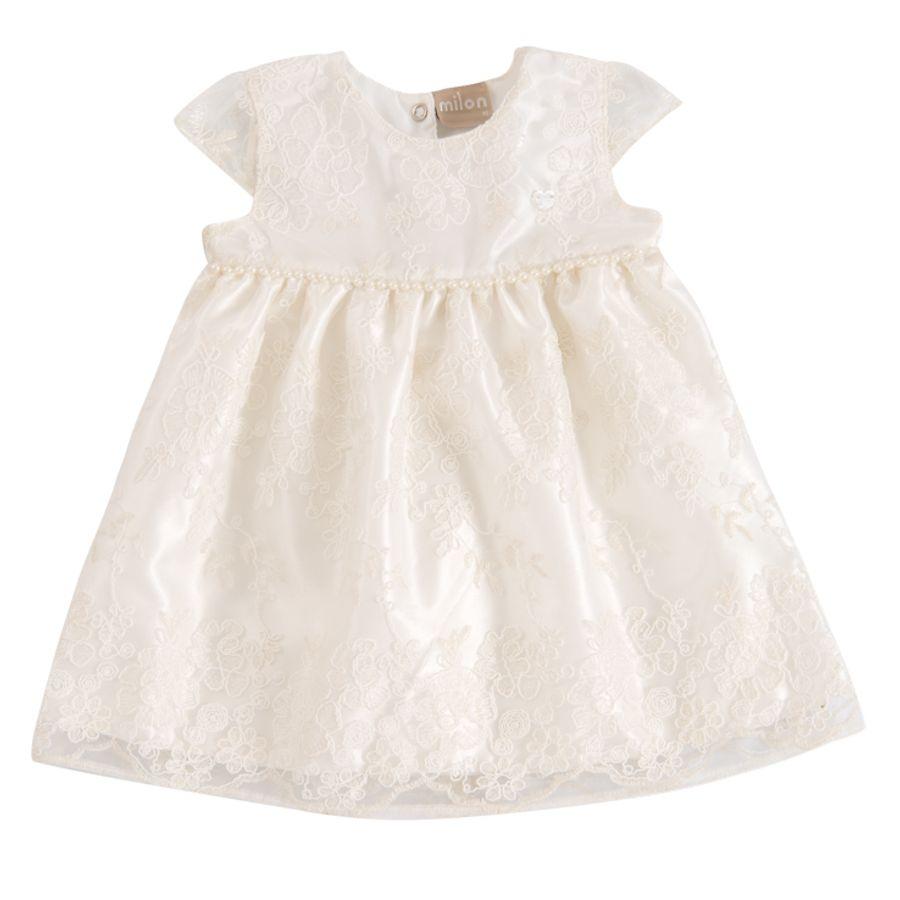 443c97867d Vestido Bebê Batizado Tule Bordado