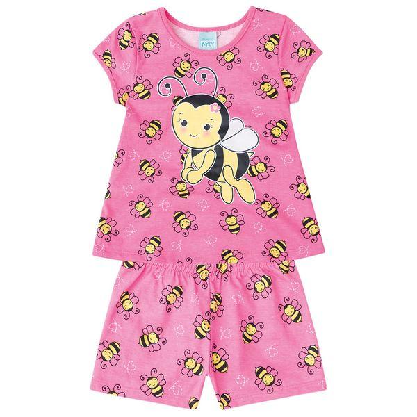 71b780b0959930 Pijama infantil menina em meia malha - Kyly