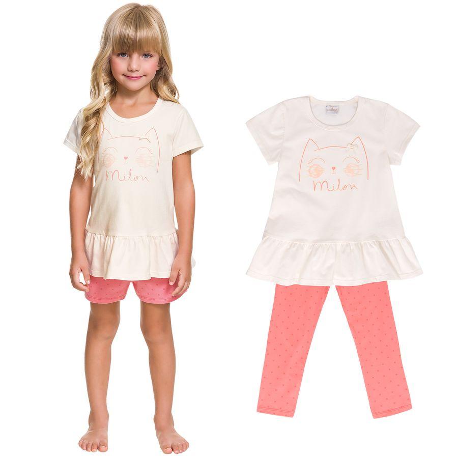 802daa56a Pijama Infantil Feminino Blusa + Calça + Short Milon - Milon