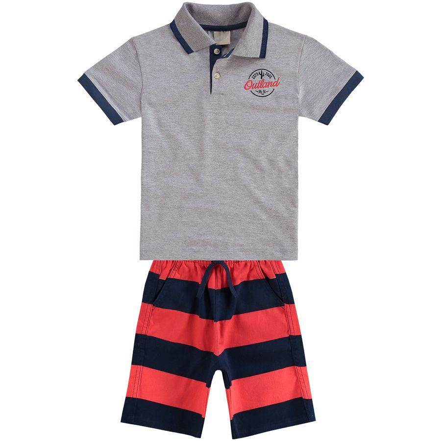 Conjunto Infantil Masculino Camisa Polo + Bermuda Milon 26b7cfa024d5f