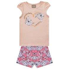 Conjunto Infantil Feminino Blusa + Short Milon 68c388093e8aa