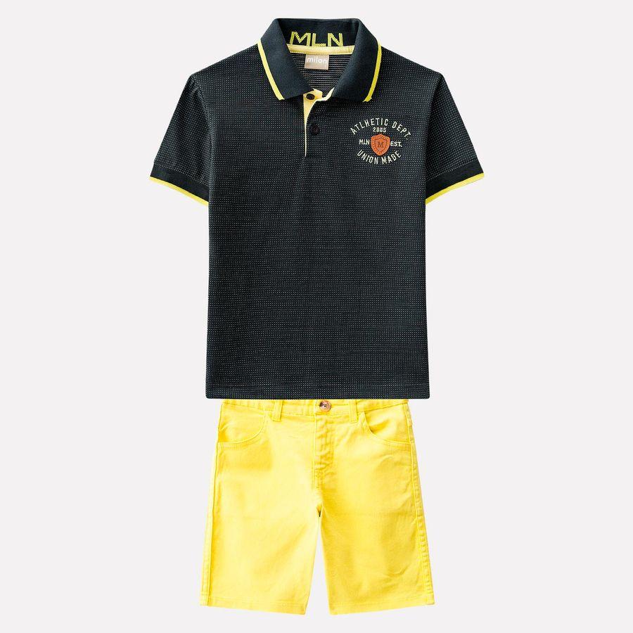 Conjunto Infantil Masculino Camisa Polo + Bermuda Milon. Previous 48fa9182a91d3