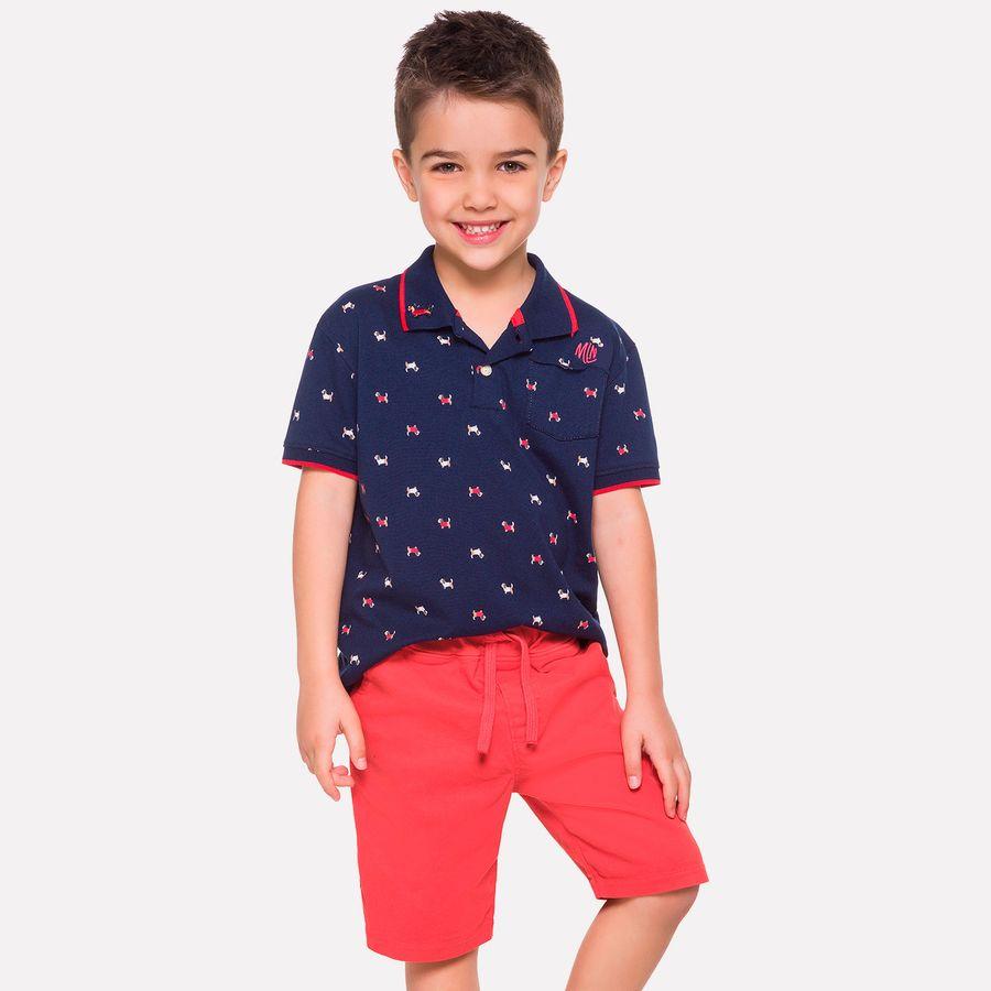 Conjunto Infantil Masculino Camisa Polo + Bermuda Milon - Milon b450e49357e07