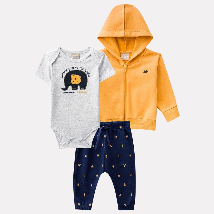 4a906983fa470 Conjunto Bebê Masculino Body + Calça + Casaco Milon - Milon
