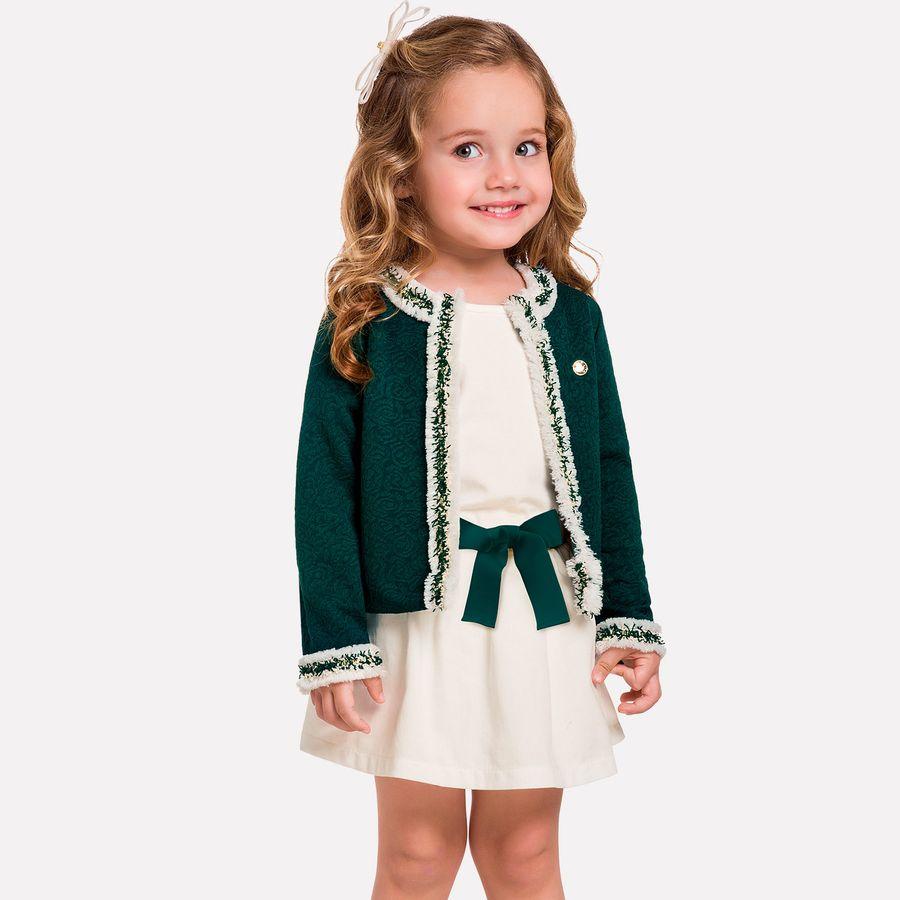 4cb2298ba0b9 Conjunto Infantil Feminino Casaco + Saia + Blusa Milon. Previous